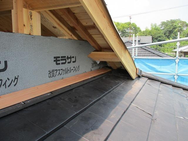 雨切板金の下地木材取付