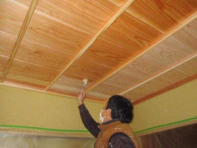 和室天井塗装状況