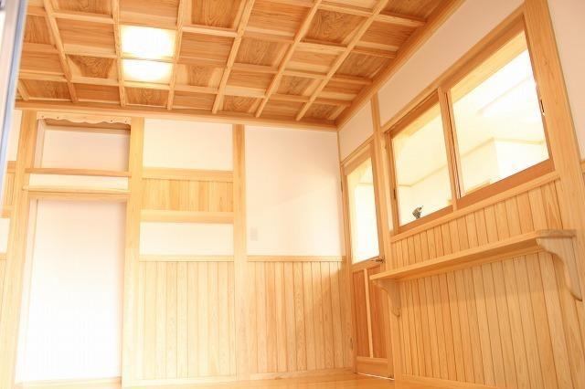 玄関格子組天井